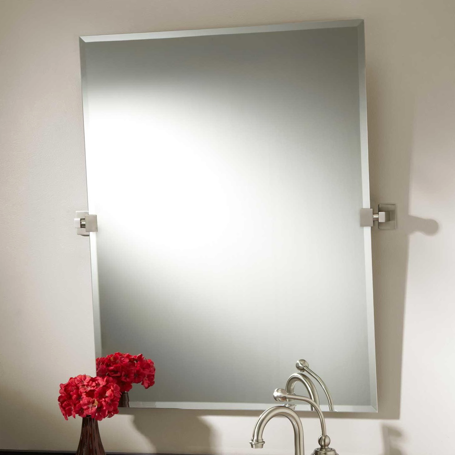 Brushed Nickel Bathroom Mirror Rectangular