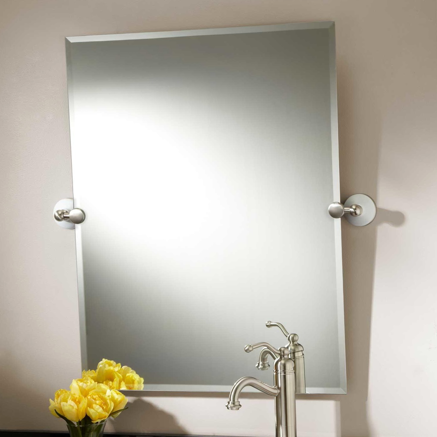 Brushed nickel framed bathroom mirror home design ideas for Bathroom mirrors brushed nickel
