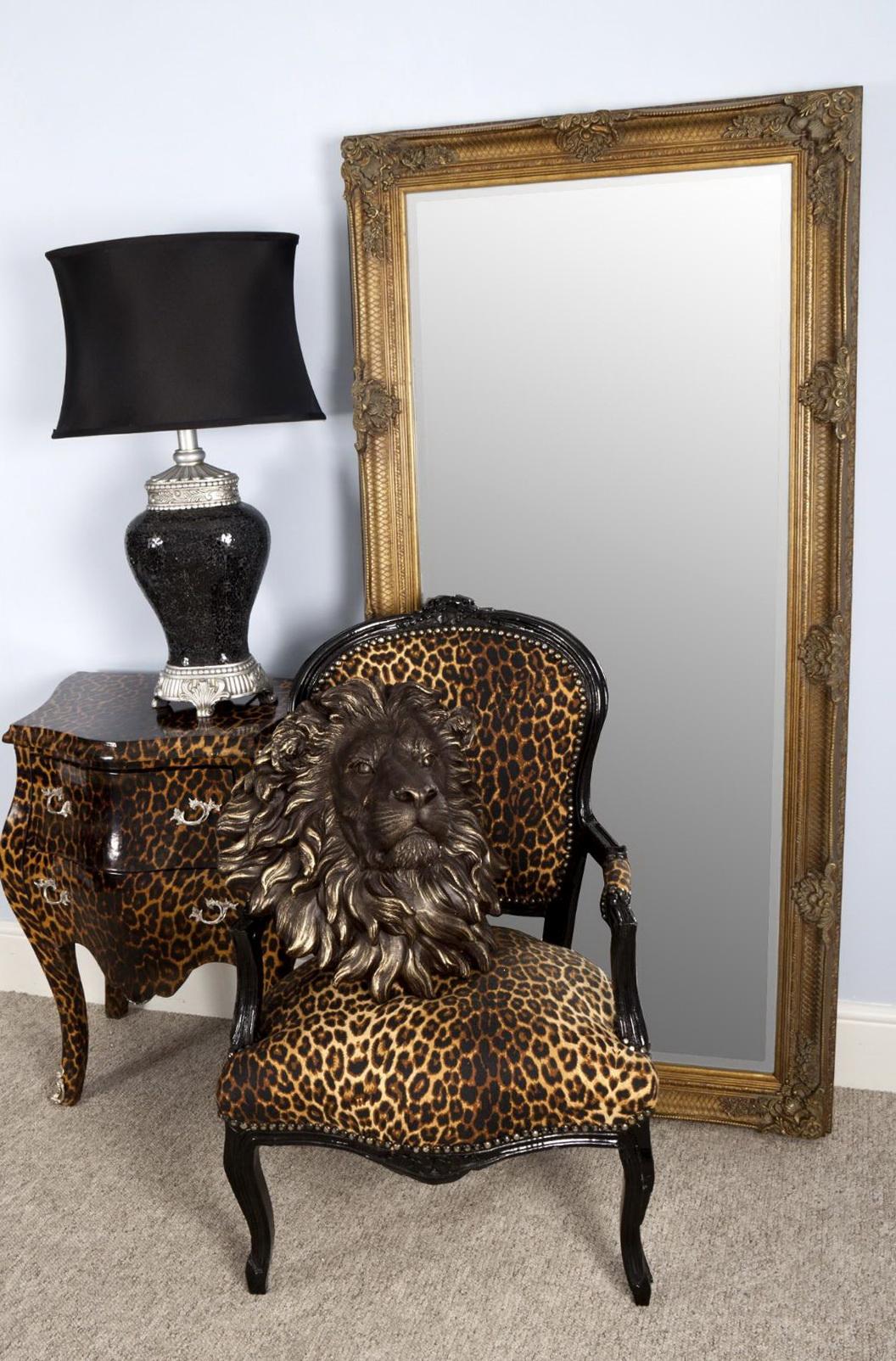 Carved Floor Standing Mirror