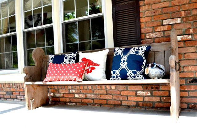 Christmas Front Porch Bench