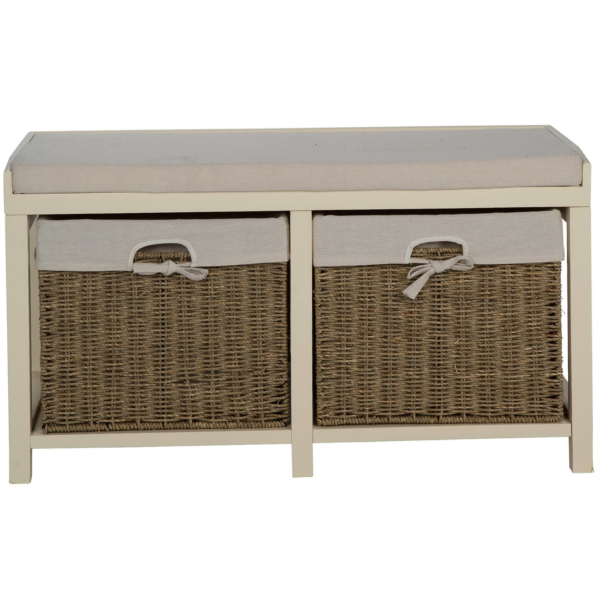 Cream Storage Bench With Baskets