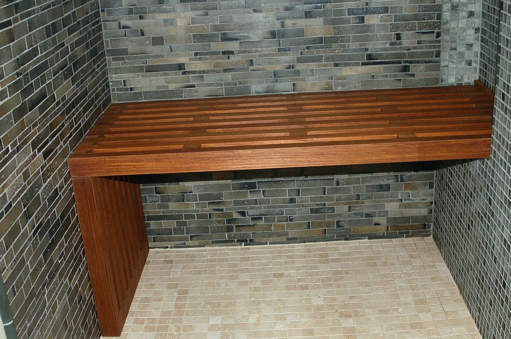 Dark Wood Shower Bench