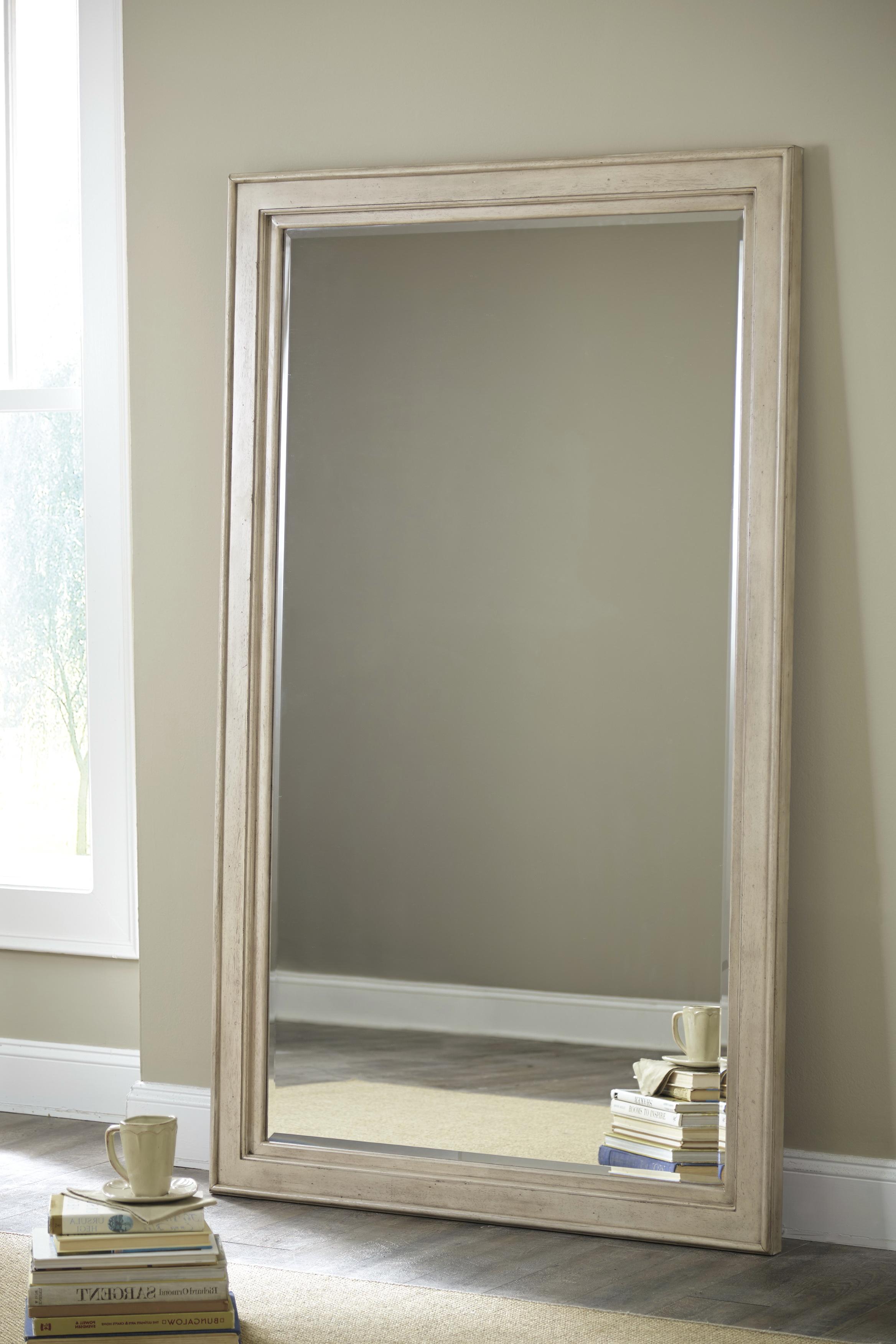Distressed White Floor Mirror