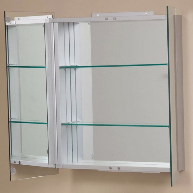 Double Sided Mirror Bathroom Cabinet