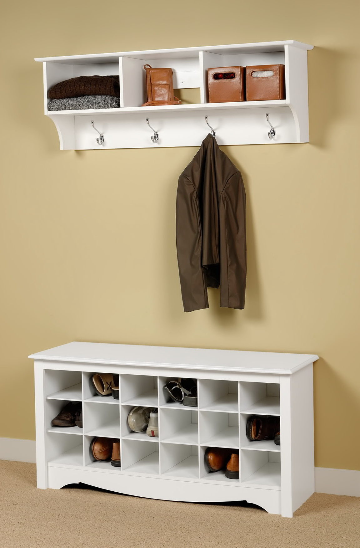 Entryway Bench Coat Rack White Home Design Ideas