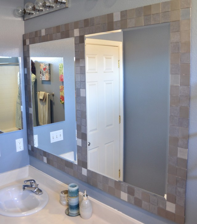 Framing A Bathroom Mirror With Glass Tile