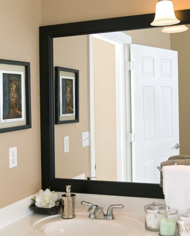 Framing A Bathroom Mirror With Wood