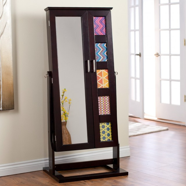 Free Standing Mirror And Jewelry Cabinet