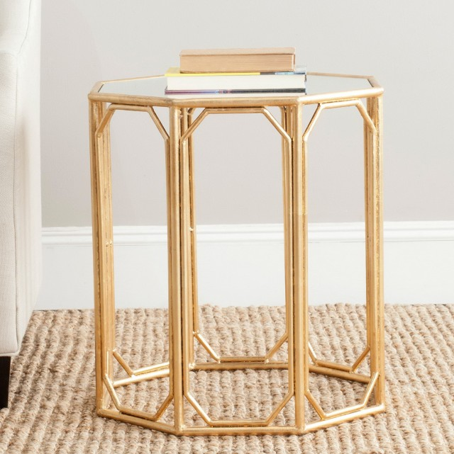 Gold Mirror End Table