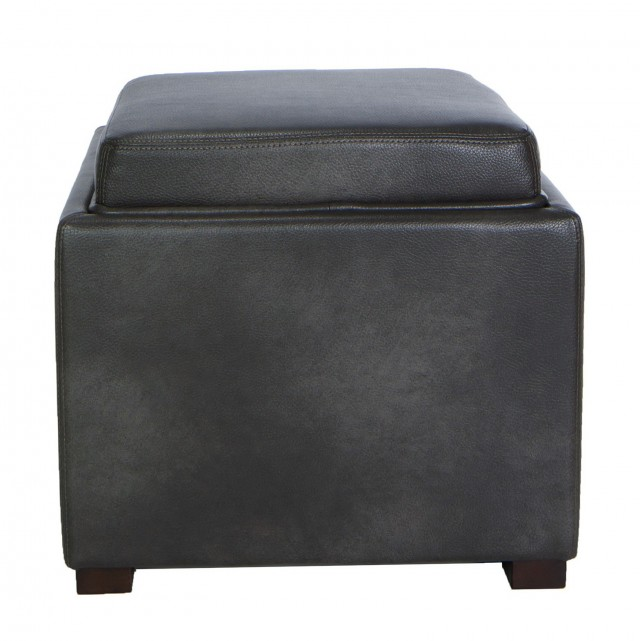 Gray Storage Ottoman With Tray