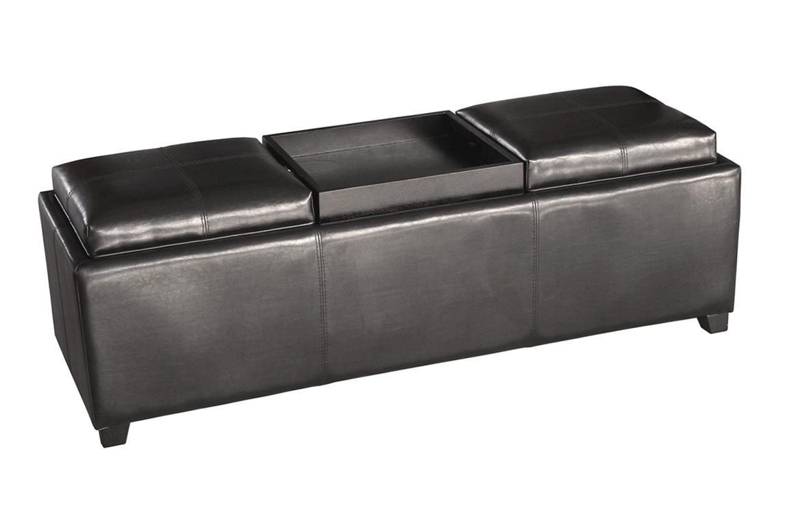 Grey Storage Ottoman With Tray