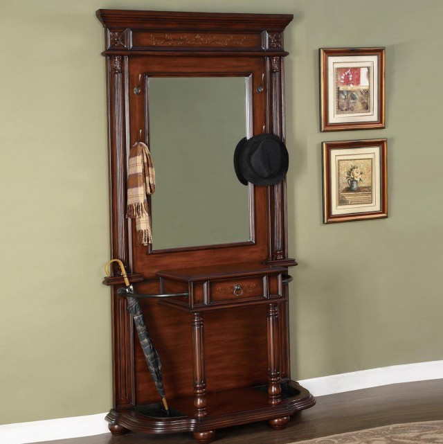 Hall Tree With Mirror And Umbrella Stand