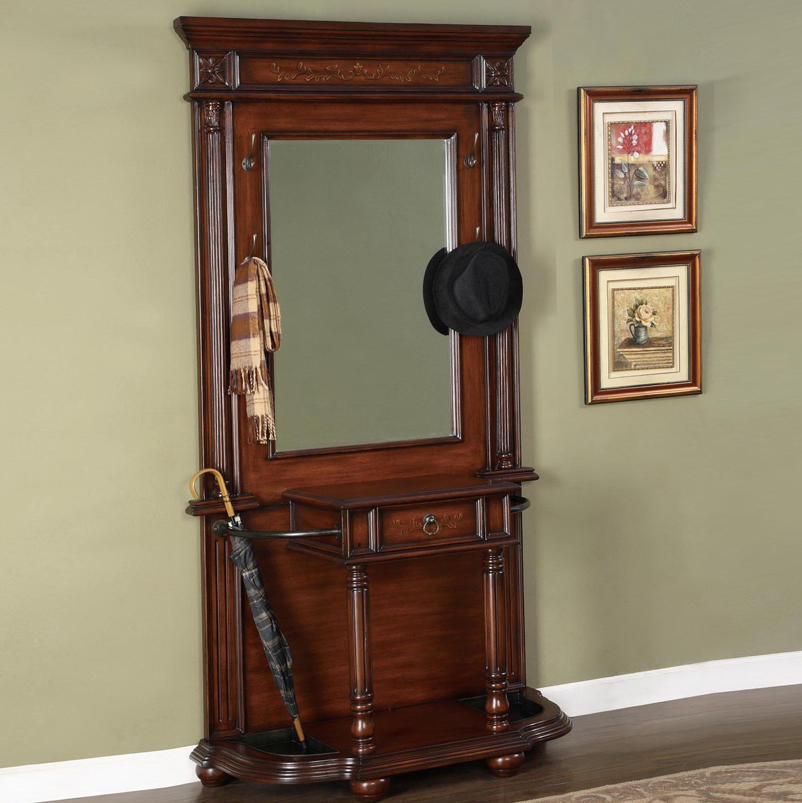 Hall Tree With Mirror And Umbrella Stand Home Design Ideas