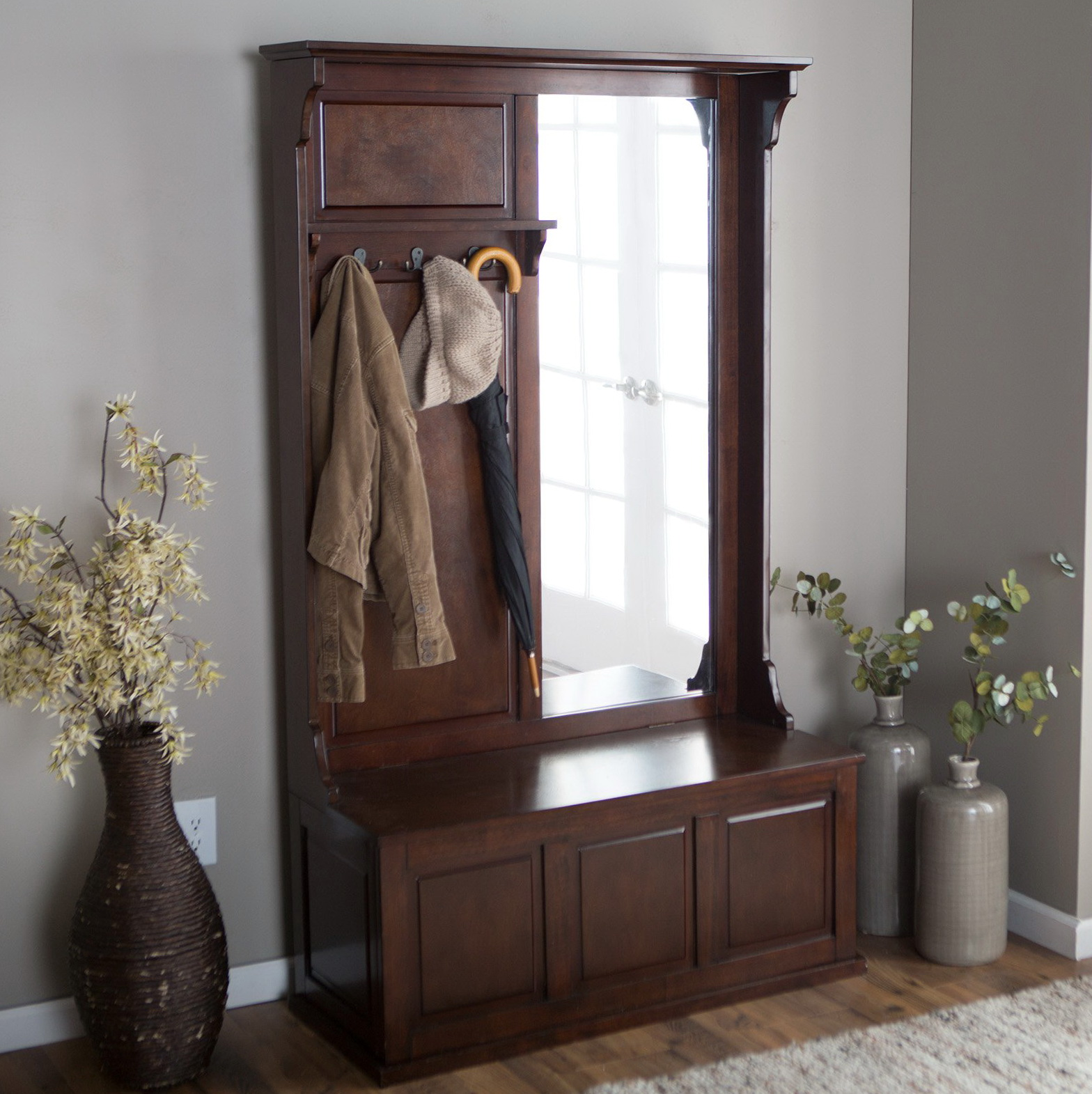 Hall Tree With Storage Bench And Mirror