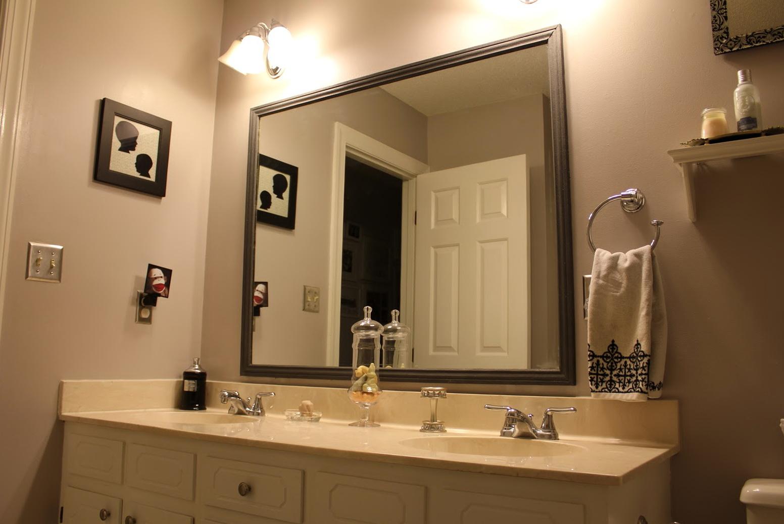 Ideas for framing a bathroom mirror home design ideas for A frame bathroom ideas
