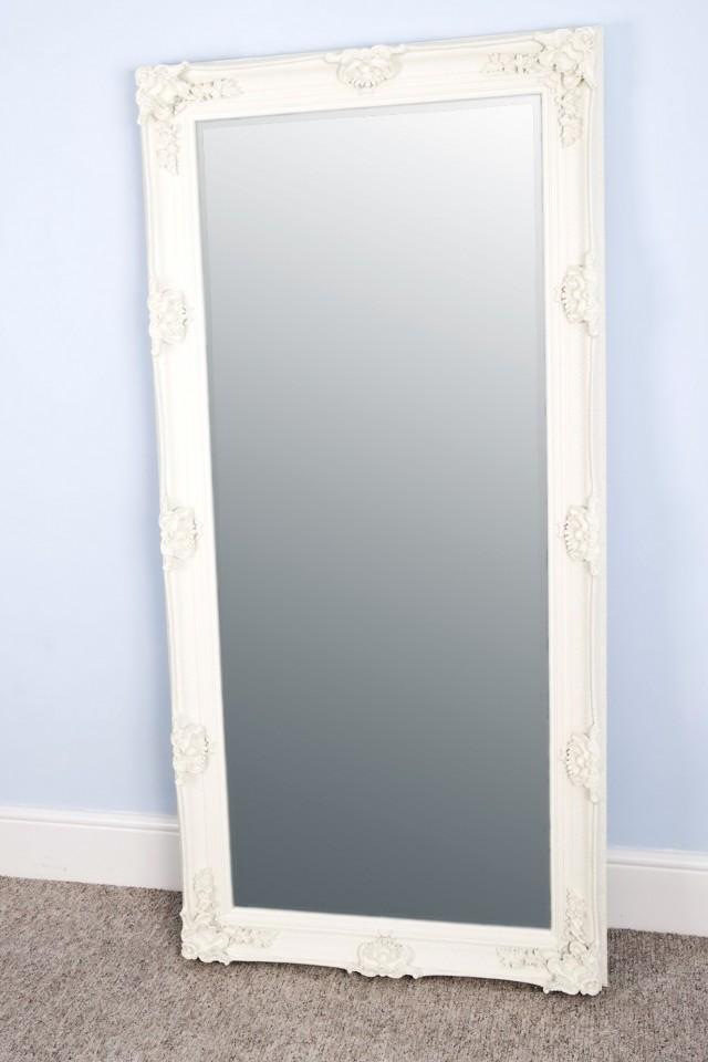 Large White Floor Mirror
