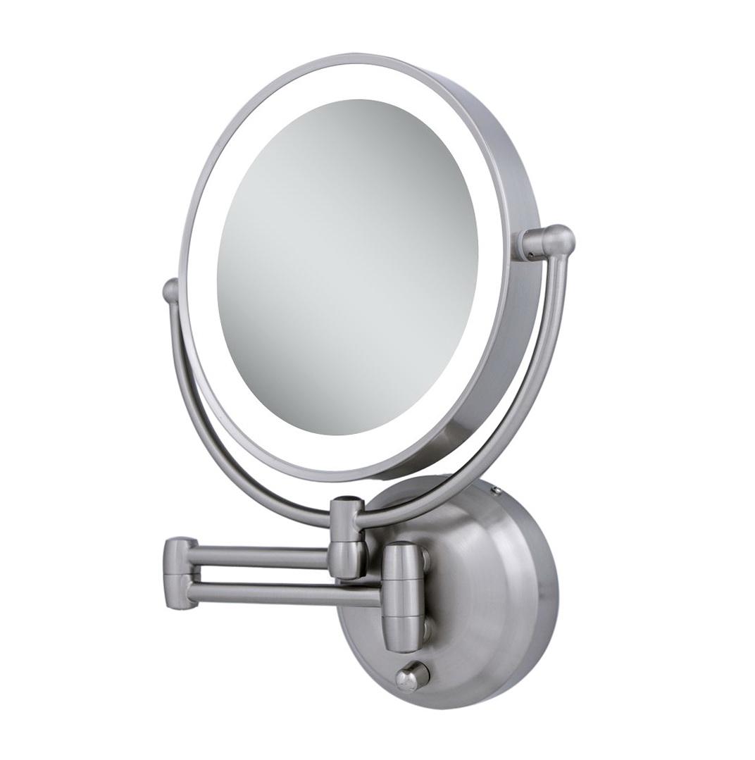 Lighted bathroom mirror wall mount