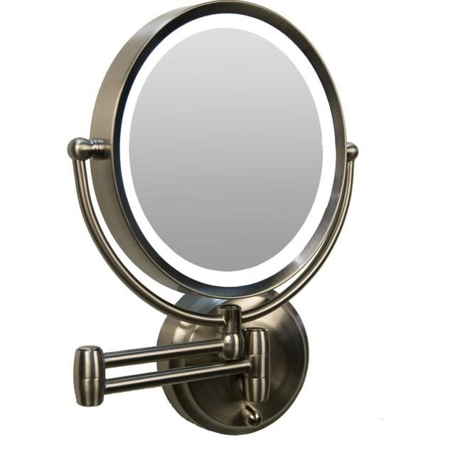 Lighted Makeup Mirror Wall Mount Bronze