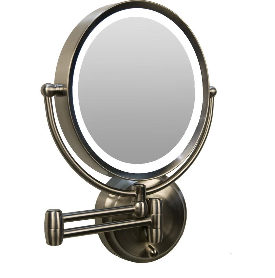 Lighted makeup mirror wall mount bronze home design ideas for Wall mounted makeup mirror