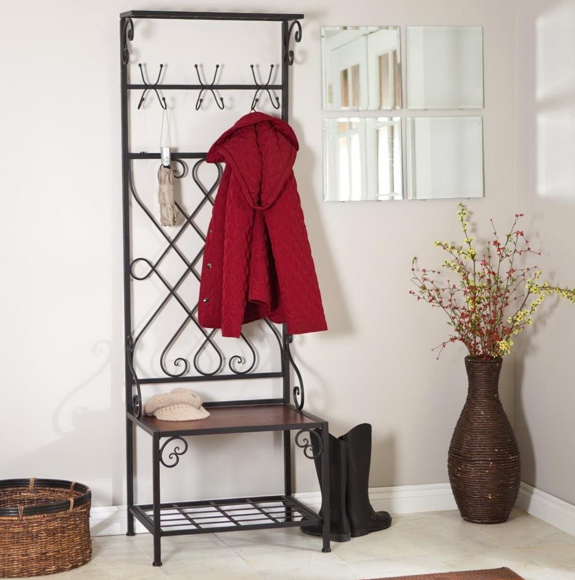 Metal Entryway Storage Bench With Coat Rack