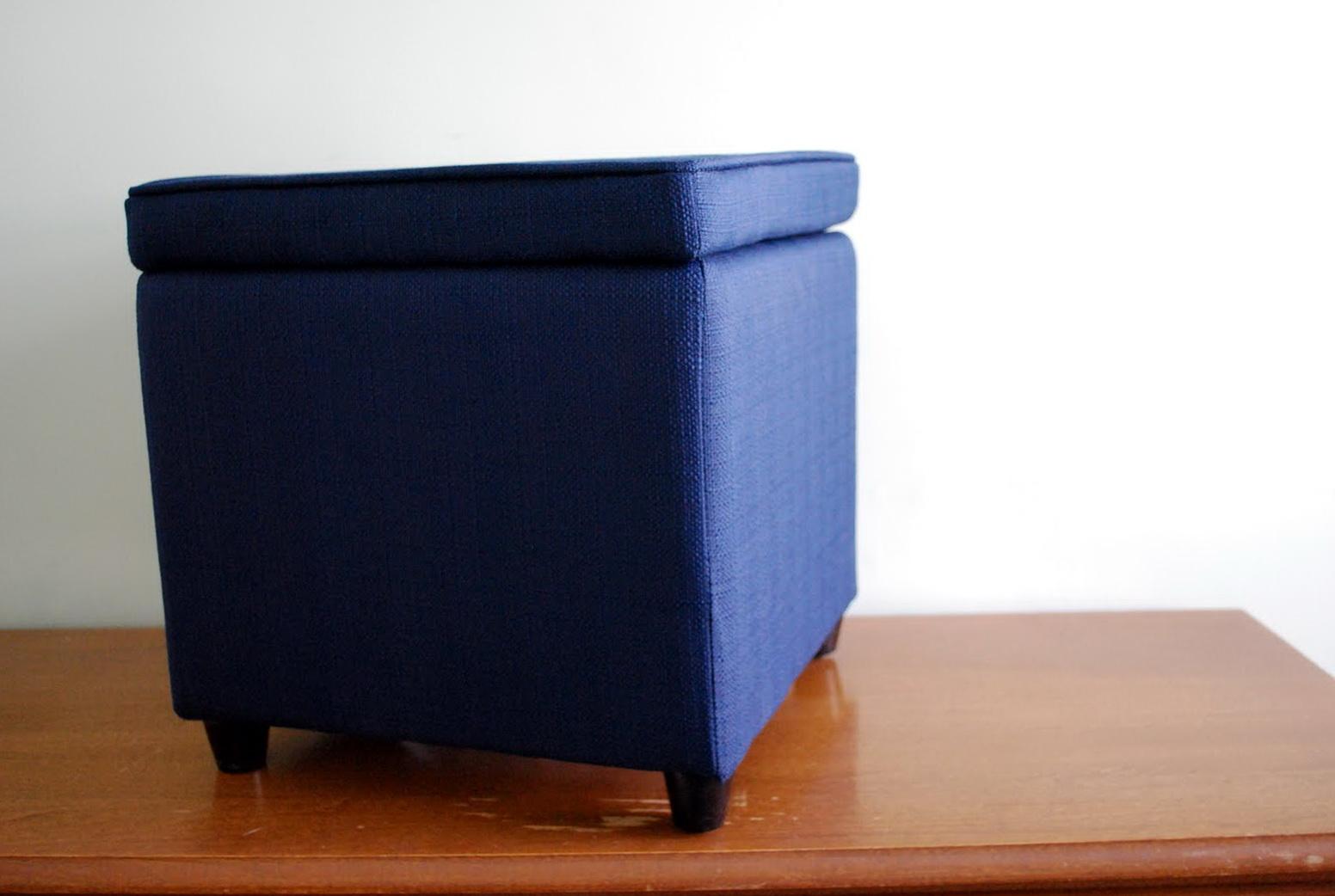 Navy Blue Storage Ottoman Home Design Ideas