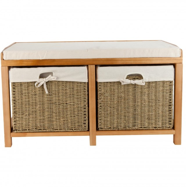 Oak Storage Bench With Baskets