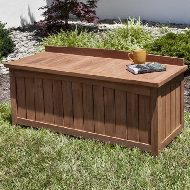 Outdoor Wood Bench With Storage