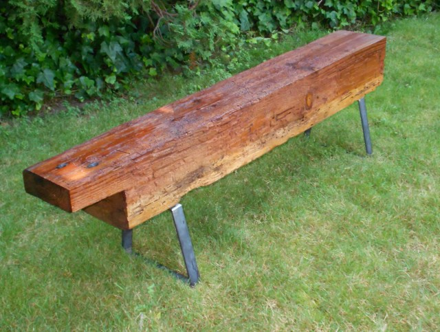 Reclaimed Wood Bench Metal Legs