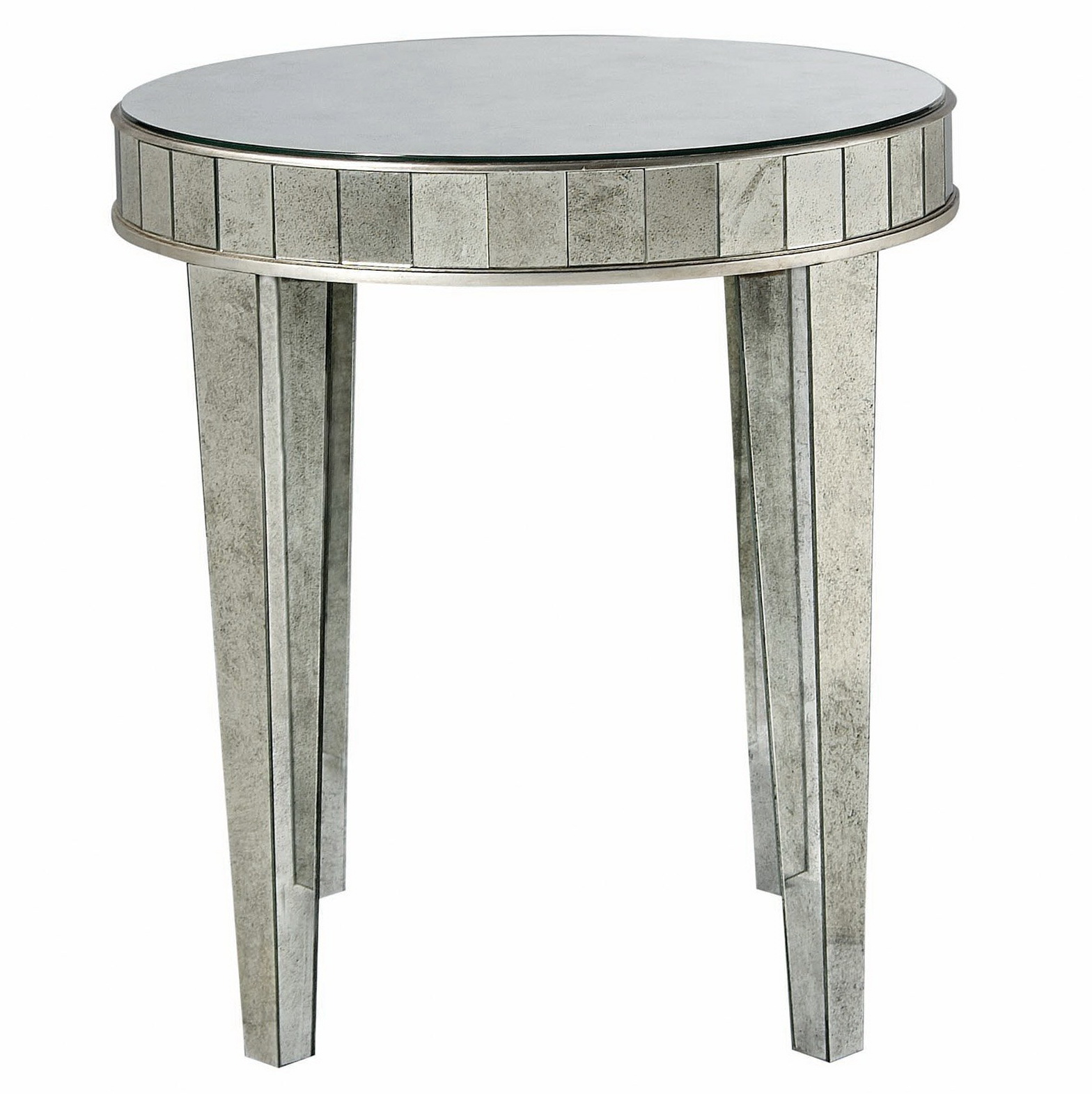 Round Mirrored Side Accent End Tables