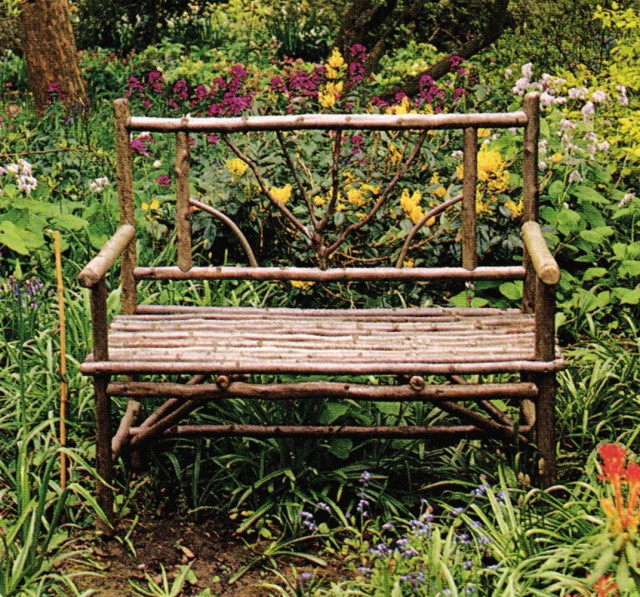 Rustic Wood Garden Bench