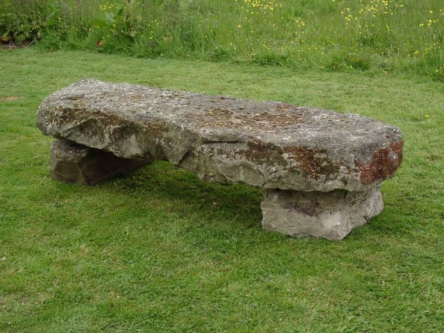 Stone Garden Bench With Back