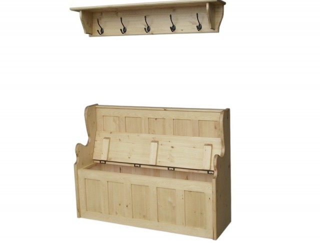 Storage Bench Seat With Coat Rack