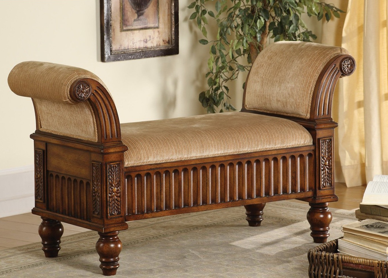 Upholstered Bench With Rolled Arms Home Design Ideas