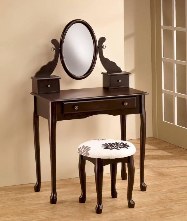 Vanity Dresser With Mirror And Stool