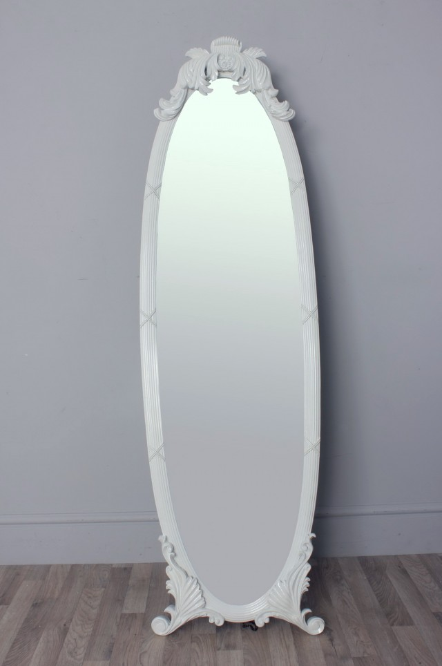 Vintage White Full Length Mirror