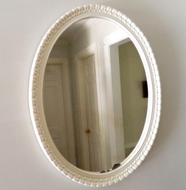 Vintage White Oval Mirror