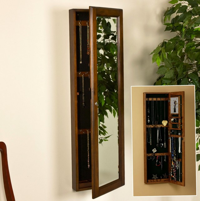 Wall Mirror Jewelry Cabinet