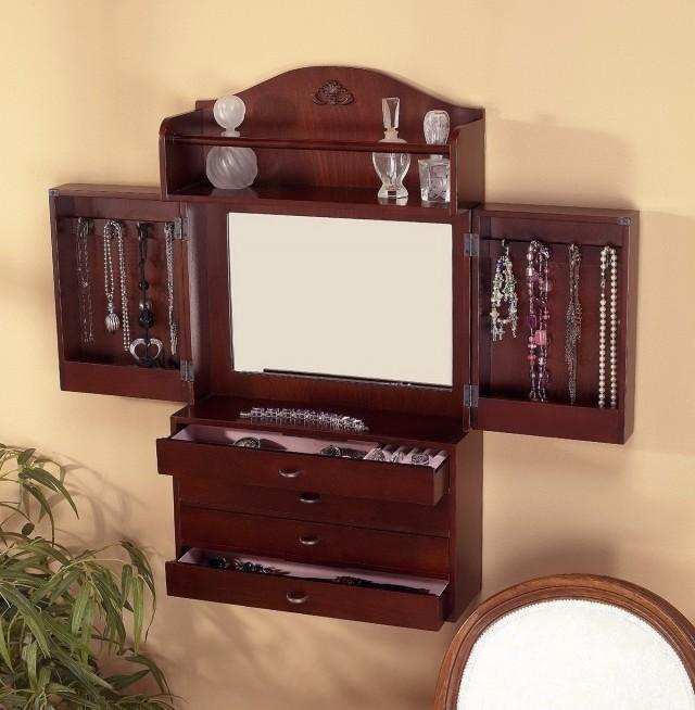 Wall Mount Mirror Jewelry Cabinet