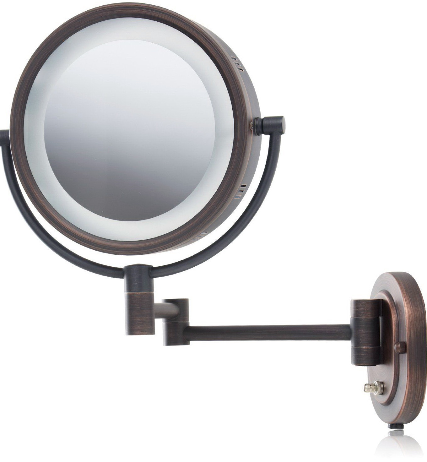Wall mounted lighted makeup mirror 10x home design ideas for Wall mounted mirror