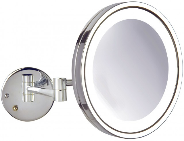 Wall Mounted Lighted Makeup Mirror Chrome