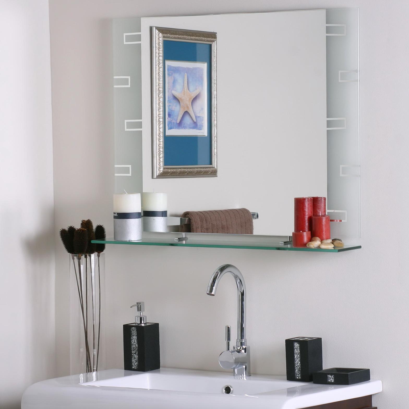 White Bathroom Mirror With Shelf
