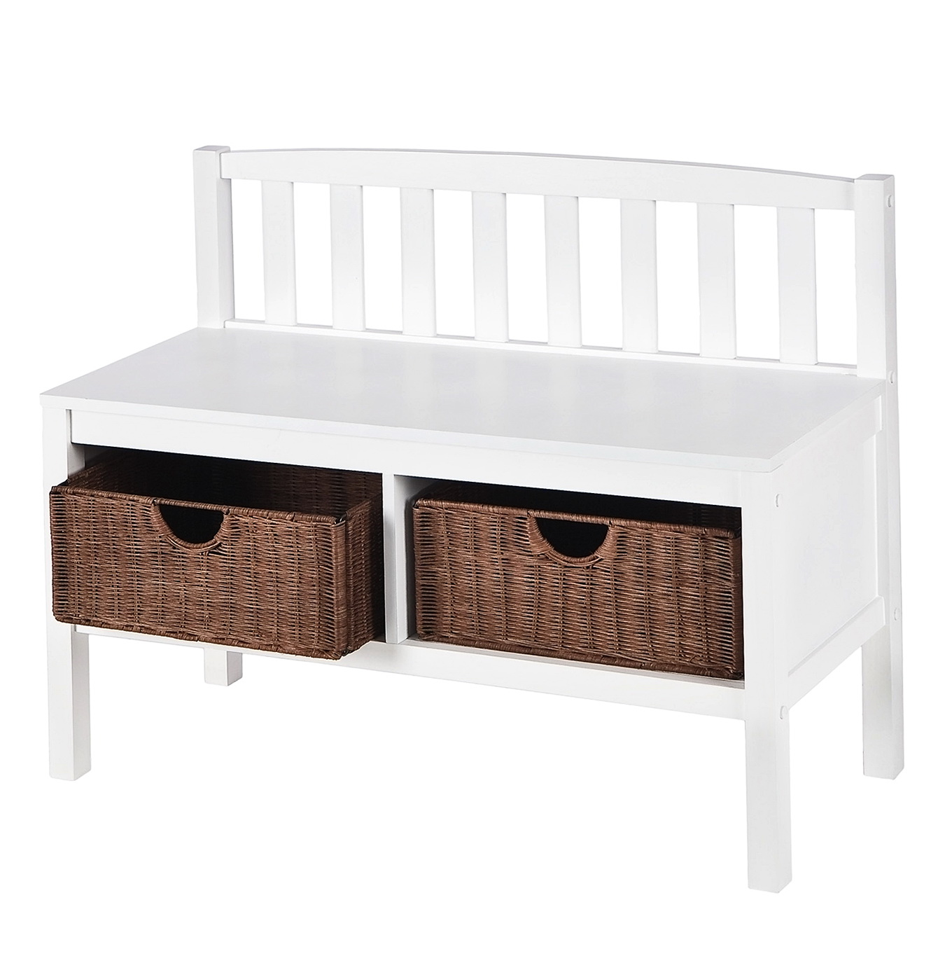White Entryway Bench With Baskets Home Design Ideas