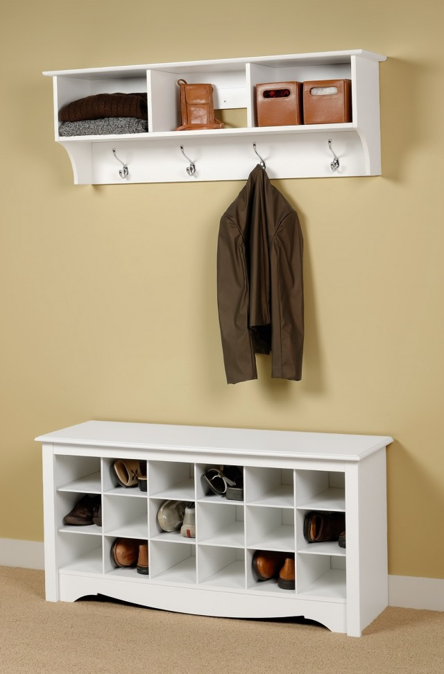 White Entryway Bench With Coat Rack