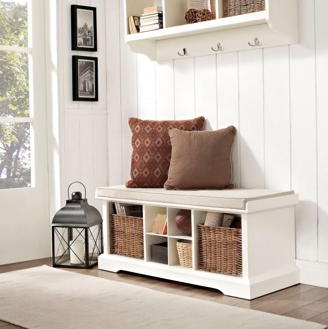 White Entryway Storage Bench