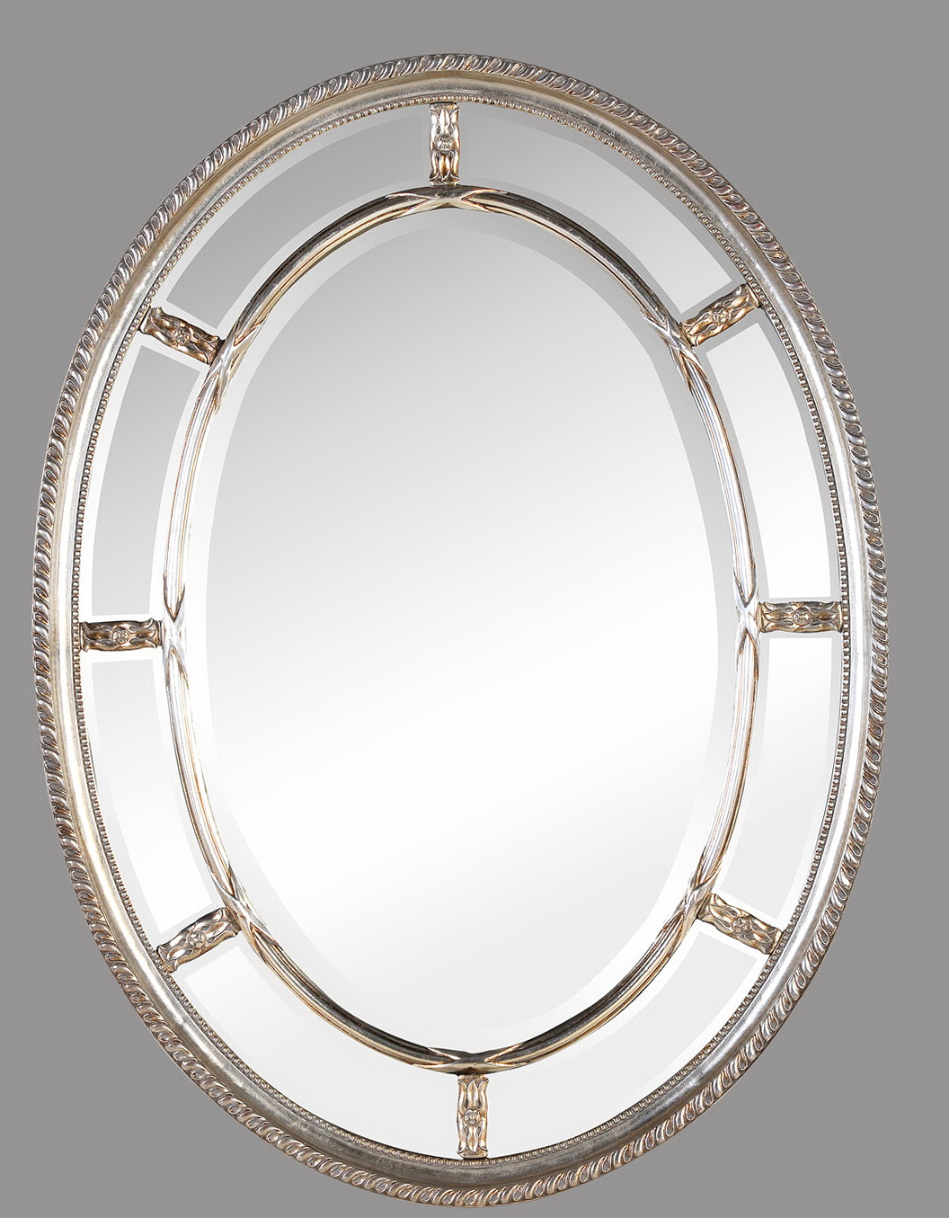 White Framed Oval Bathroom Mirror