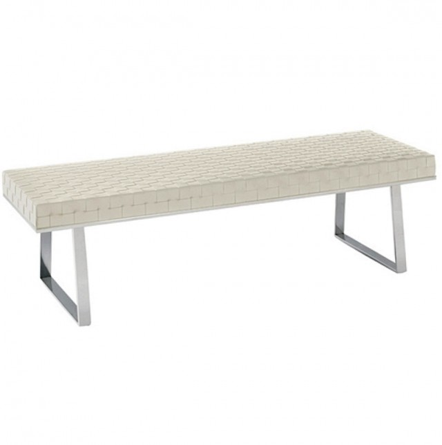 White Leather Bench Seat