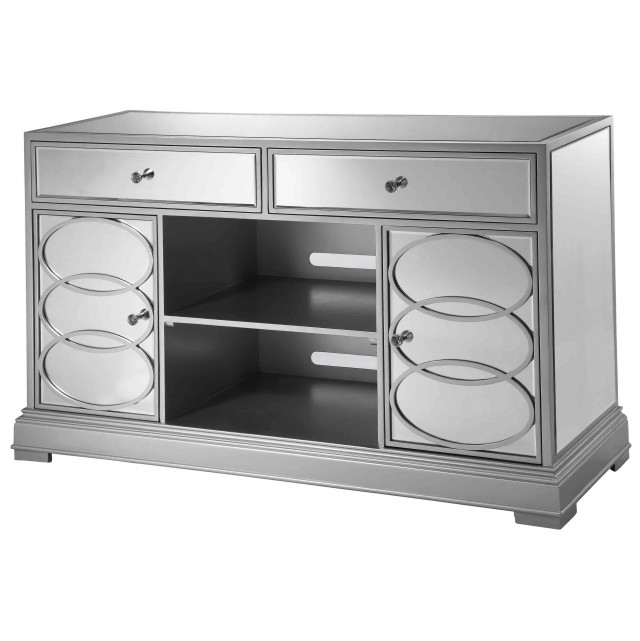 White Mirrored Tv Stand