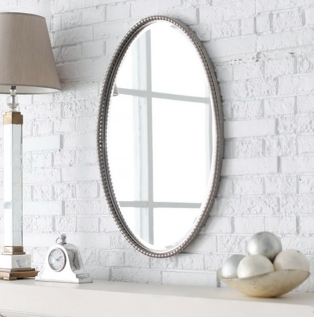 White Oval Bathroom Mirror
