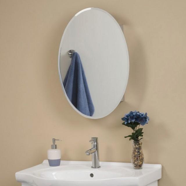 White Oval Mirror Medicine Cabinet