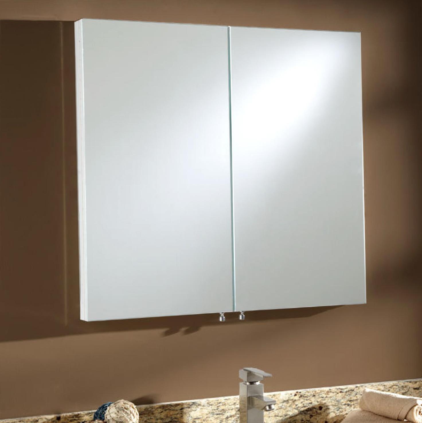 White Recessed Medicine Cabinet With Mirror